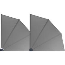 Grasekamp 2 Stück Balkonfächer Grau Premium  140 x 140 cm mit Wandhalterung Trennwand  Sichtschutz Grau