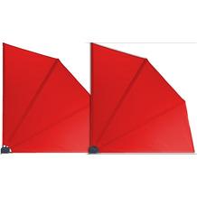 Grasekamp 2 Stück Balkonfächer Rot Premium  140 x 140 cm mit Wandhalterung Trennwand  Sichtschutz Rot
