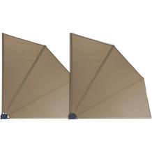 Grasekamp 2 Stück Balkonfächer Taupe Premium  140 x 140 cm mit Wandhalterung Trennwand  Sichtschutz Taupe