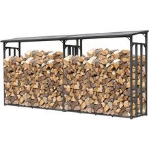 Grasekamp 2 Stück Kaminholz Lager 200 x 70 x 195  cm mit Doppelstegplatten Regal Aussen  Stapelhilfe Grau