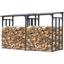 Grasekamp 2 Stück Kaminholzlager 130 x 60 x 150 cm  mit Doppelstegplatten Regal Stapelhilfe  Aussen Grau