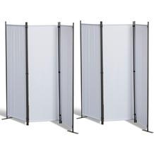 Grasekamp 2 Stück Paravent 3tlg Raumteiler  Trennwand Sichtschutz Weiß Weiß