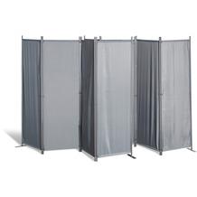Grasekamp 2 Stück Paravent 4tlg Raumteiler  Trennwand Sichtschutz Grau Grau