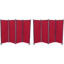 Grasekamp 2 Stück Paravent 4tlg Raumteiler  Trennwand Sichtschutz Weinrot Balkon Rot