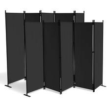 Grasekamp 2 Stück Paravent 5 teilig Schwarz  Raumteiler Trennwand Sichtschutz Schwarz