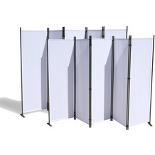 Grasekamp 2 Stück Paravent 5 teilig Weiß  Raumteiler Trennwand Sichtschutz Weiß