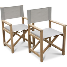 Grasekamp 2 Stück Teak Regiesessel Stuhl  Gartenstühle Klappstuhl Premium  Gartenmöbel Natur