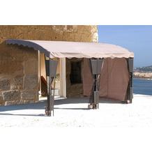 Grasekamp 3 Seitenteile zu Anbaupergola Mallorca  Rattan Taupe Sichtschutz Sonnenschutz Taupe