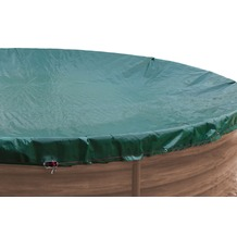 Grasekamp Abdeckplane für Pool oval 1100x550cm  Planenmaß 1180x630cm Sommer Winter Grün/Schwarz