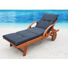 Grasekamp Auflage Anthrazit für Gartenliege  Liegestuhl Sonnenliege Relaxliege Anthrazit