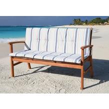 Grasekamp Auflage Marine für Gartenbank 150cm Rio  Grande Bank Gartenmöbel Blau/Sand gestreift