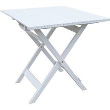 Grasekamp Balkontisch Toskana 70 x 70 cm Weiß  Klapptisch Beistelltisch Gartentisch Weiß