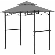 Grasekamp BBQ Grillpavillon 1,5x2,4m mit  Flammschutzdach und Abzug Grau  Unterstand Gazebo Grau