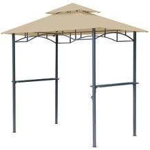 Grasekamp BBQ Grillpavillon 1,5x2,4m mit  Flammschutzdach und Abzug Sand  Unterstand Gazebo Beige
