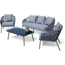 Grasekamp Lounge Sitzgruppe 4 teilig mit dicken  Kissen Grau Coffee Set Arezzo Aluminium  Loungeset Garten Sitzgruppe Loungemöbel Grau