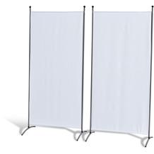Grasekamp Doppelpack Stellwand 85x180 cm - weiß - Paravent Raumteiler Trennwand Sichtschutz Weiß