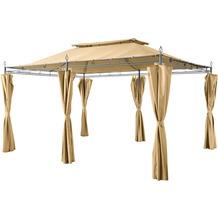 Grasekamp Garten-Pavillon Inca 3x4m Beige mit  Seitenteil Sets geschlossen Party-Zelt  Terrassen-Dach Beige
