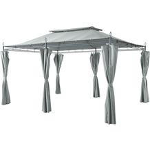 Grasekamp Garten-Pavillon Inca 3x4m Grau mit  Seitenteil Sets geschlossen Party-Zelt  Terrassen-Dach Grau