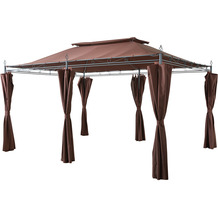 Grasekamp Garten-Pavillon Inca 3x4m Mocca mit  Seitenteil Sets geschlossen Party-Zelt  Terrassen-Dach Braun
