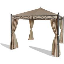 Grasekamp Garten-Pavillon ROM 3x3m mit 2  Seitenteil Sets geschlossen und mit  Moskito Netz Party-Zelt Terrassen-Dach Beige