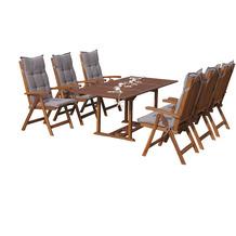 Grasekamp Garten Möbelgruppe Cuba 13tlg Sand mit  ausziehbarem Tisch Essgruppe Natur/ Sand