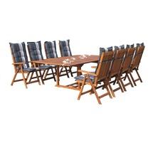 Grasekamp Garten Möbelgruppe Cuba 17tlg Premium  Grey mit ausziehbaren Tisch Natur/Garden Grey