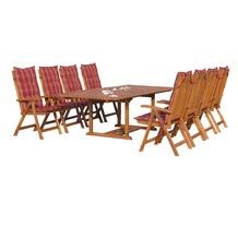 Grasekamp Garten Möbelgruppe Cuba 17tlg Rubin  gestreift mit ausziehbaren Tisch Natur/Rubinrot gestreift