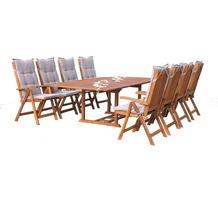 Grasekamp Garten Möbelgruppe Cuba 17tlg Sand mit  ausziehbarem Tisch Natur/ Sand