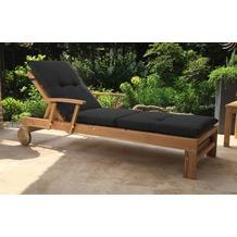 Grasekamp Gartenliege Teak mit Kissen  Anthrazit  Liegestuhl Sonnenliege Relaxliege Natur