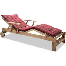 Grasekamp Gartenliege Teak mit Kissen Rubin  Liegestuhl Sonnenliege Relaxliege Natur