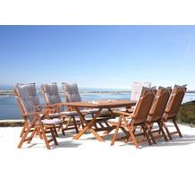 Grasekamp Gartenmöbel 17tlg mit Klapptisch  200x100cm Terrassenmöbel Santos Sand Beige