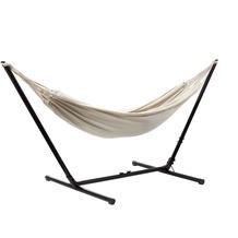 Grasekamp Hängemattenset Relax bis auf 330 cm  verstellbar mit XL Hängematte Beige 210  x 140 cm Beige
