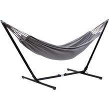 Grasekamp Hängemattenset Relax bis auf 330 cm  verstellbar mit XL Hängematte Grau 210 x  140 cm Grau