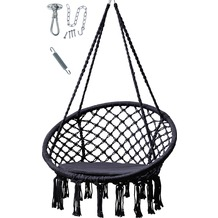 Grasekamp Hängesessel Schwarz mit  Deckenbefestigung, Spezialfeder und  rundem Sitzkissen Belastbarkeit max. 100  kg Schwebesessel Schwarz