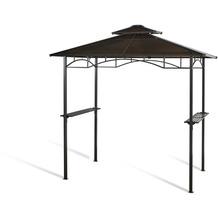 Grasekamp Hardtop BBQ Grill Pavillon 1,5x2,4m  Doppelstegplatten Polycarbon  Grillpavillon Braun