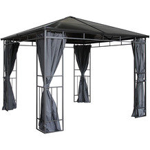 Grasekamp Hardtop Pavillon Limone 3x3m inkl.  Seitenteile Doppelstegplatten Hohlkammer  Polycarbonat braun/anthrazit