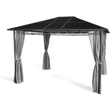 Grasekamp Hardtop Pavillon Meran 3x3,6m mit  Seitenteile Doppelstegplatten Hohlkammer  Polycarbonat Anthrazit