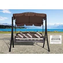 Grasekamp Hollywoodschaukel Portofino Polyrattan  mit Schutzhülle Relax Liege Schaukel  Gartenliege Braun