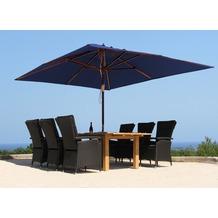 Grasekamp Holz Sonnenschirm 300x300cm Polyester  Blau Gartenschirm Sonnenschutz UV50+  Quadratisch Blau