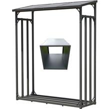 Grasekamp Kaminholz Lager und Box für Anmachholz mit Doppelstegplatten Regal Stapelhilfe Aussen Grau