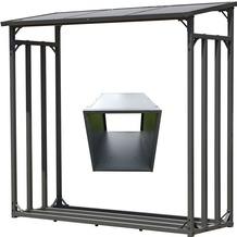 Grasekamp Kaminholz Lager 200 x 60 x 203 cm und  Box für Anmachholz mit Doppelstegplatten  Regal Stapelhilfe Aussen Grau