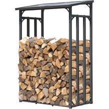 Grasekamp Kaminholzunterstand 130 x 60 x 203 cm Kaminholz Regal Aussen Doppelstegplatten Stapelhilfe Grau