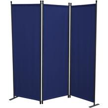 Grasekamp Stellwand 165x170 cm dreiteilig - blau -  Paravent Raumteiler Trennwand  Sichtschutz Blau