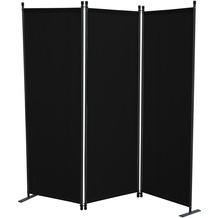 Grasekamp Stellwand 165x170 cm dreiteilig -  schwarz - Paravent Raumteiler Trennwand  Sichtschutz Schwarz