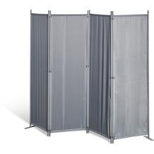 Grasekamp Paravent 4 teilig Grau Raumteiler  Trennwand Sichtschutz Balkontrennung Grau