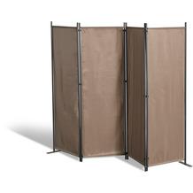 Grasekamp Paravent 4 teilig Taupe Raumteiler  Trennwand Sichtschutz Balkontrennung Taupe