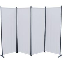 Grasekamp Paravent 4tlg Raumteiler Trennwand  Sichtschutz Weiß Weiß