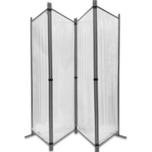 Grasekamp Paravent 225x170cm - 4tlg. transparent -  Paravent Raumteiler Trennwand  Sichtschutz Transparent