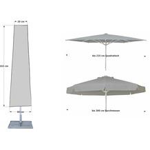 Grasekamp Schutzhülle 165cm Sonnenschirme bis  Ø300cm Wäschespinne Schutzhaube  Abdeckung Schutzplane Grau Grau