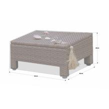 Grasekamp Schutzhülle 60x60cm Lanzarote Lounge  Hocker Beistelltisch PE Weiß Weiß